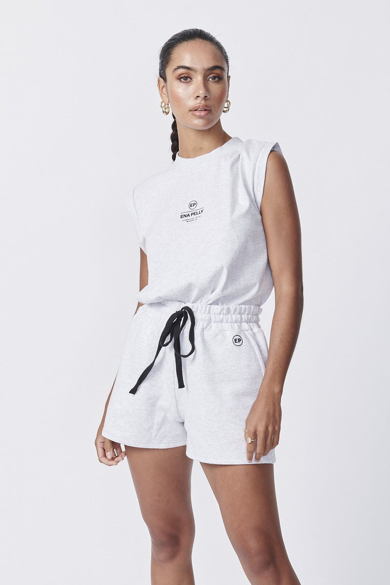 Essential Track Short White Marle