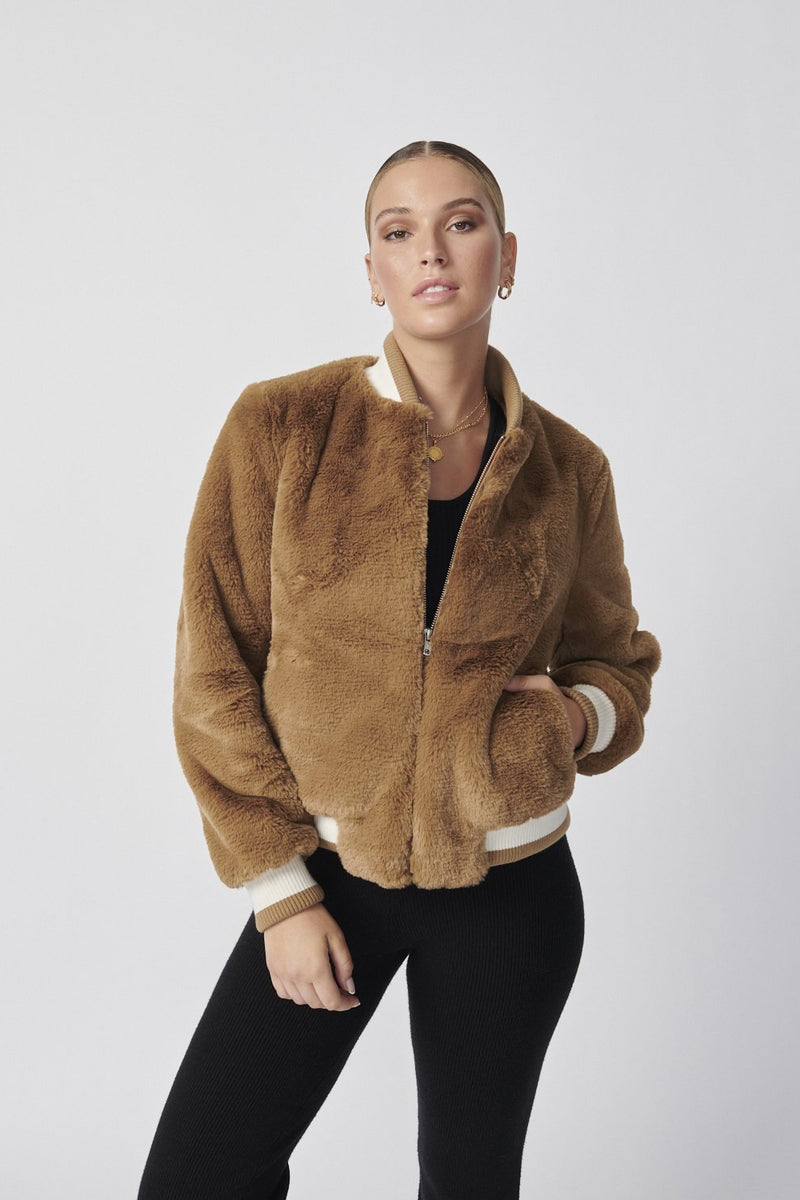 Essential Faux Fur Bomber Jacket Tuscany