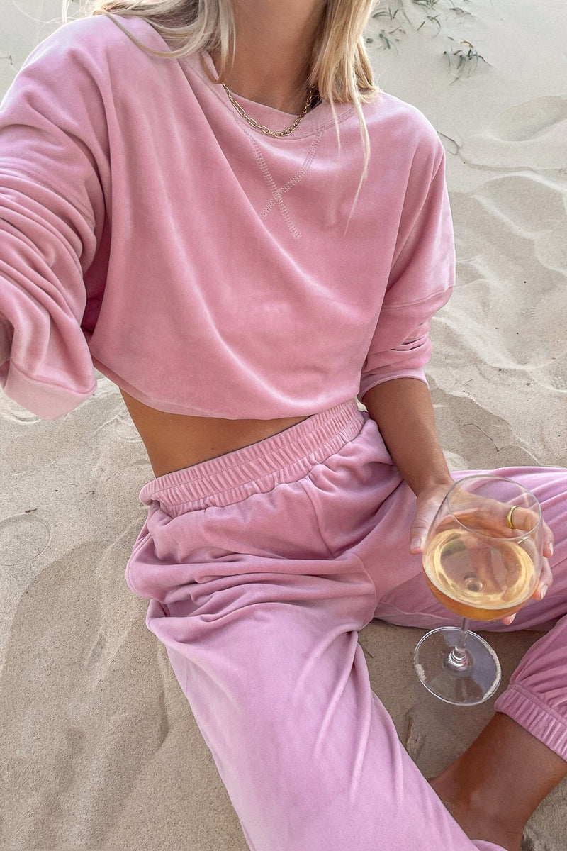 Retro Velour Sweatshirt Dusty Rose