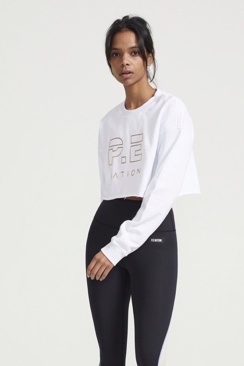 Heads Up Cropped Metallic Sweat White