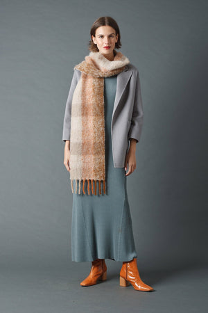 Checked Scarf Beige