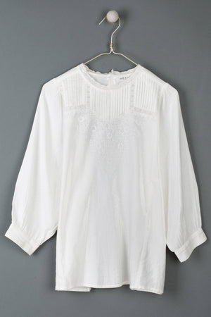 Daisy Embroidered Blouse White