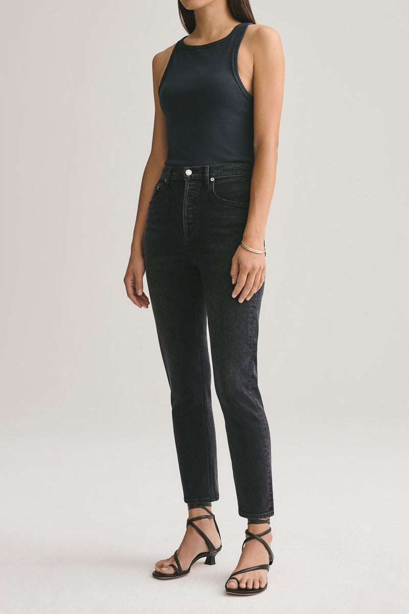 Riley High Rise Straight Crop in Black Pepper