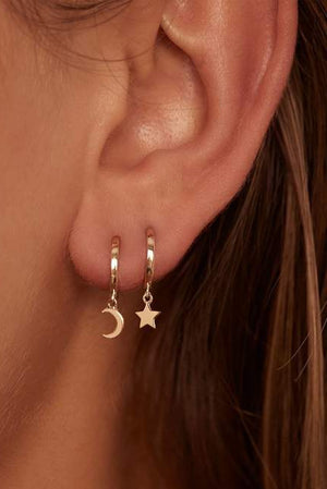 14k Gold Wish Upon a Star Hoops