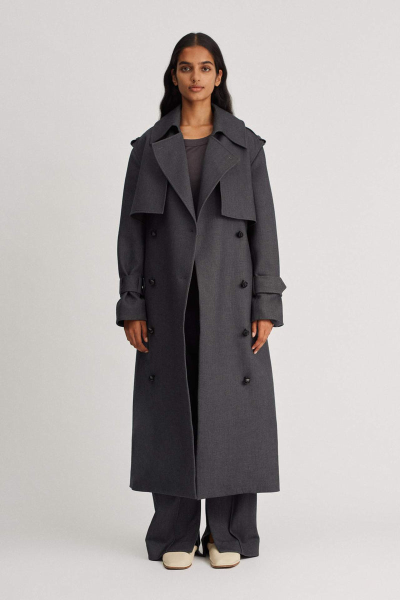 Puelo Trench Coat Charcoal