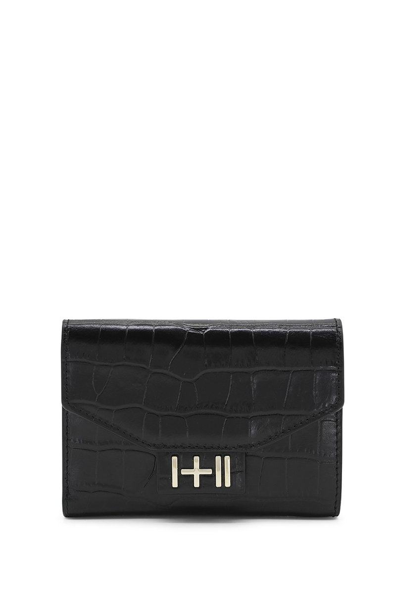The Helena Croc Wallet Light Gold