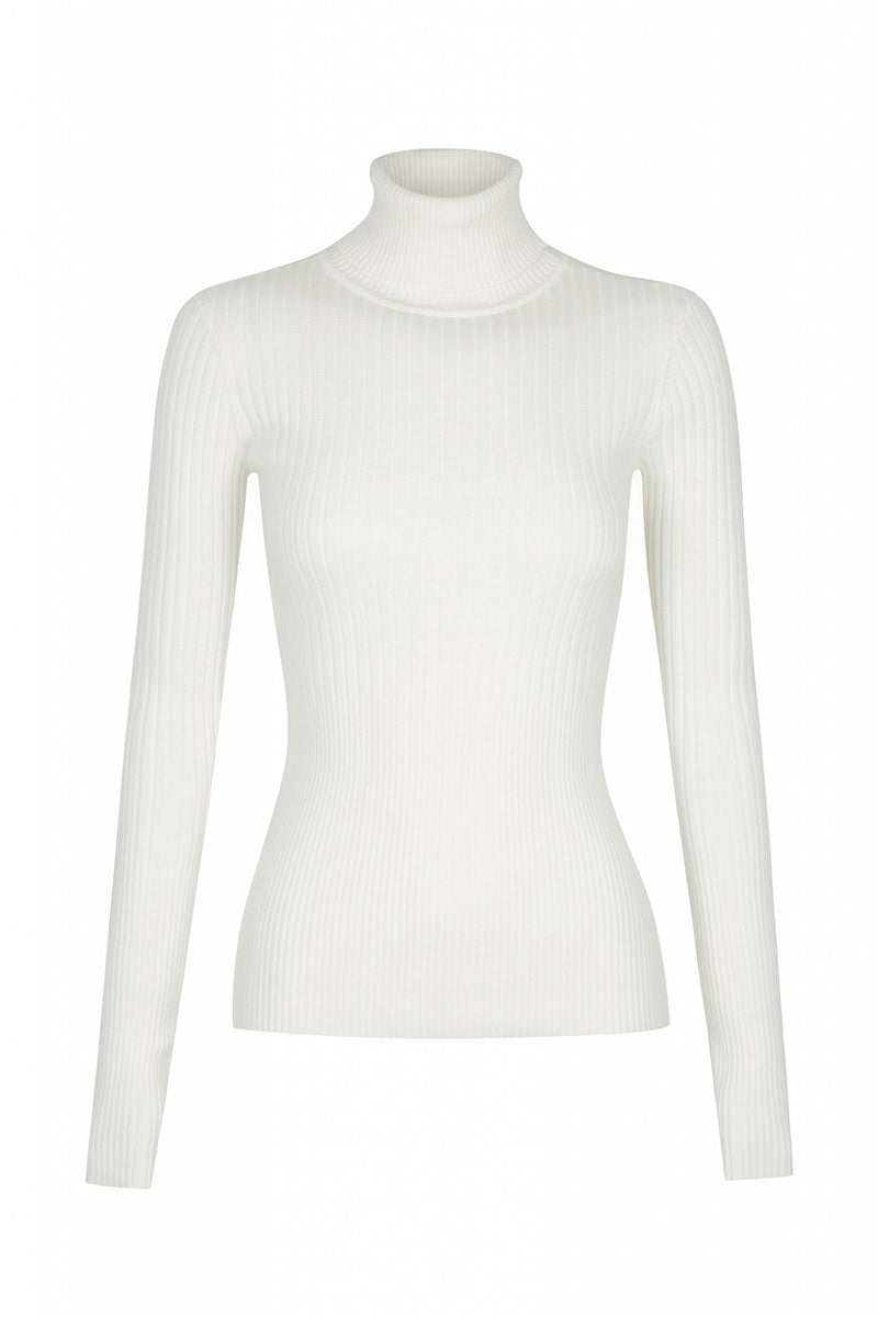 Jaclyn Cashmere Turtleneck White