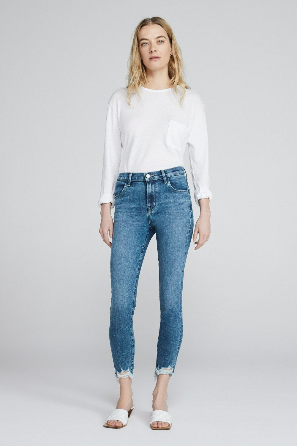 Alana High Rise Cropped Skinny in Project Destruct