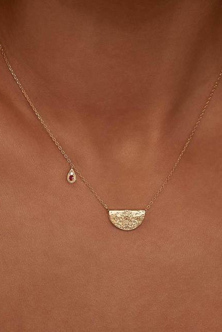 Gold Embrace Your Path Necklace - July Birthstone