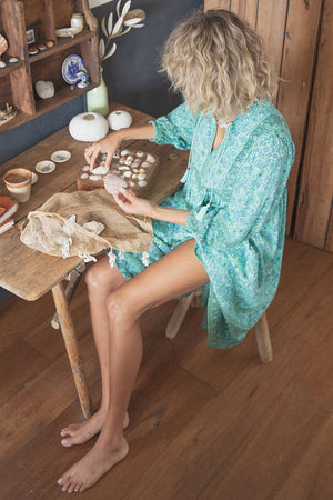 Sundown Boho Dress Turquoise