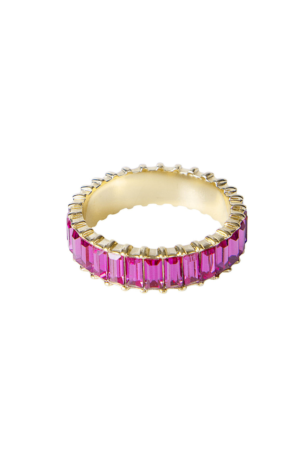 Pink Crystal Baguette Ring