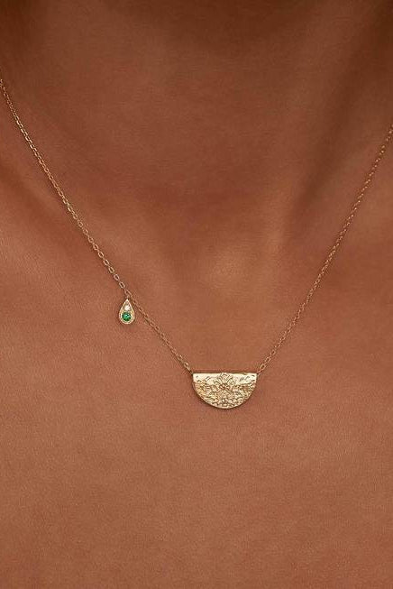 Gold Nurture Your Heart Necklace - May Birthstone