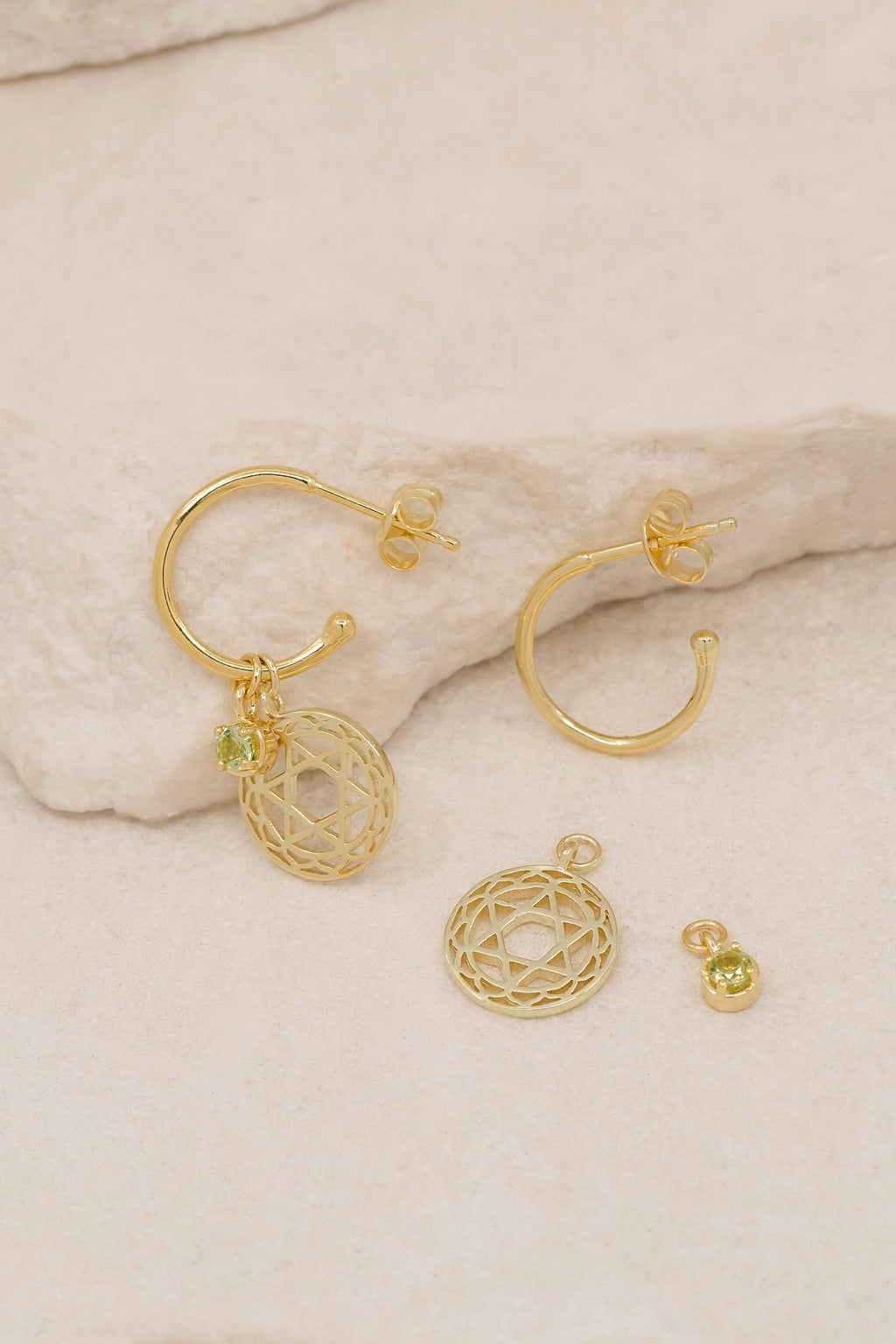 Gold I Am Worthy of Love Heart Chakra Hoops