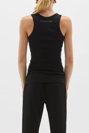 Superfine Rib Athletic Tank Black
