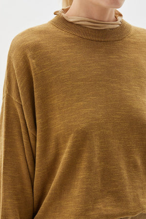 Cotton Linen Oversized Knit Dark Tan