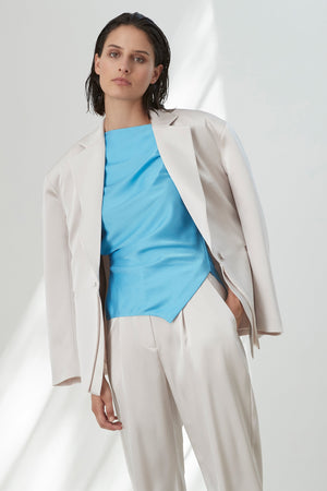 Molten Satin Double Front Blazer Chalk