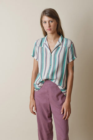 Afternoon Shirt Verde Stripe