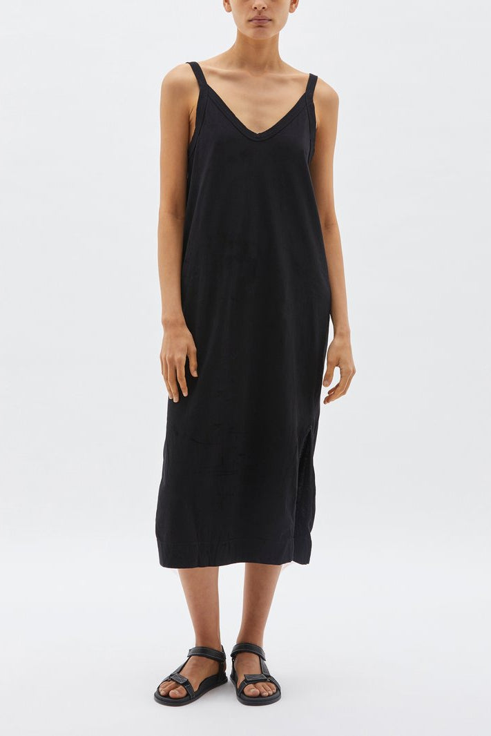 V Neck Jersey Slip Dress Black