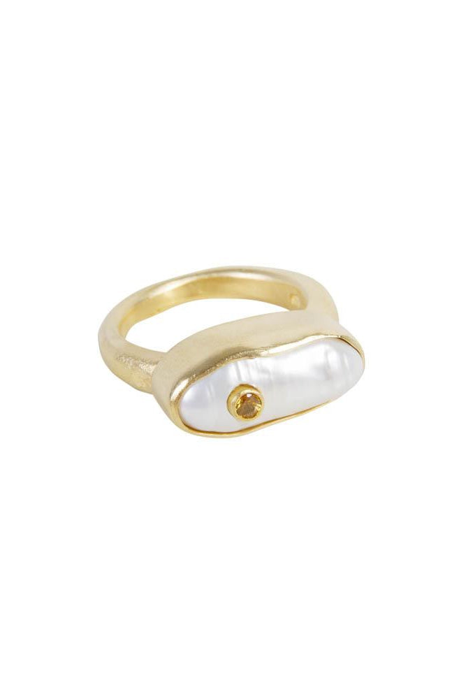 Pearl Puff Yellow Sapphire Ring