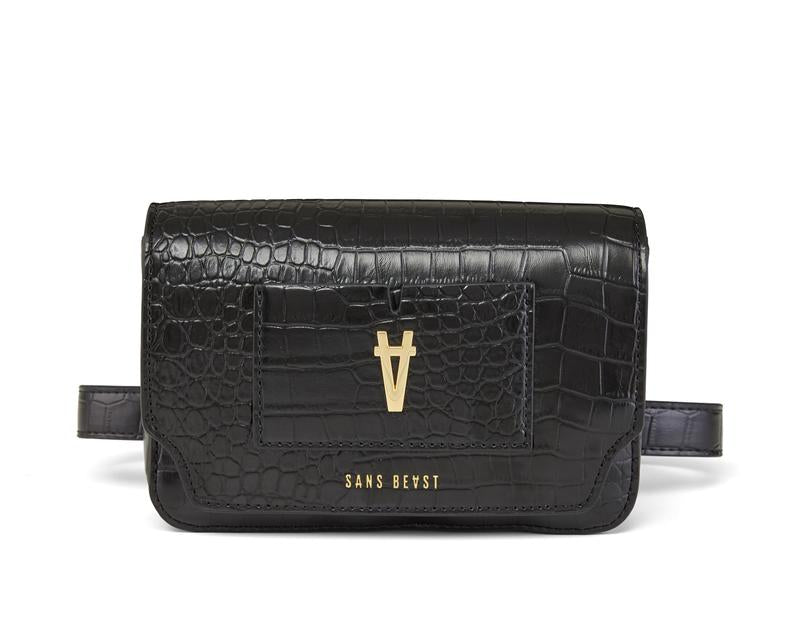 Noir Croco Freefall Belt Bag