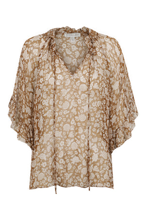 Odette Flutter Sleeve Top Clay Ivory