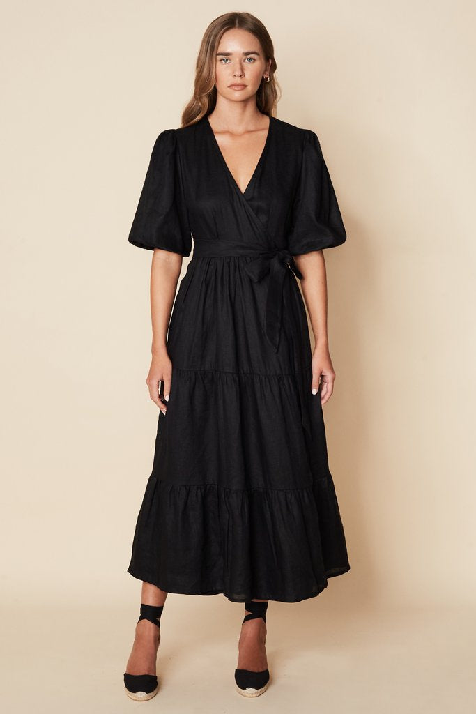 Edee Wrap Dress Plain Black