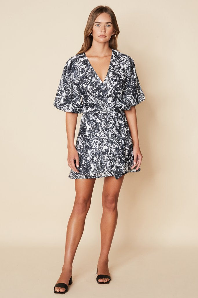 Godiva Wrap Dress Faye Paisley Print Charcoal