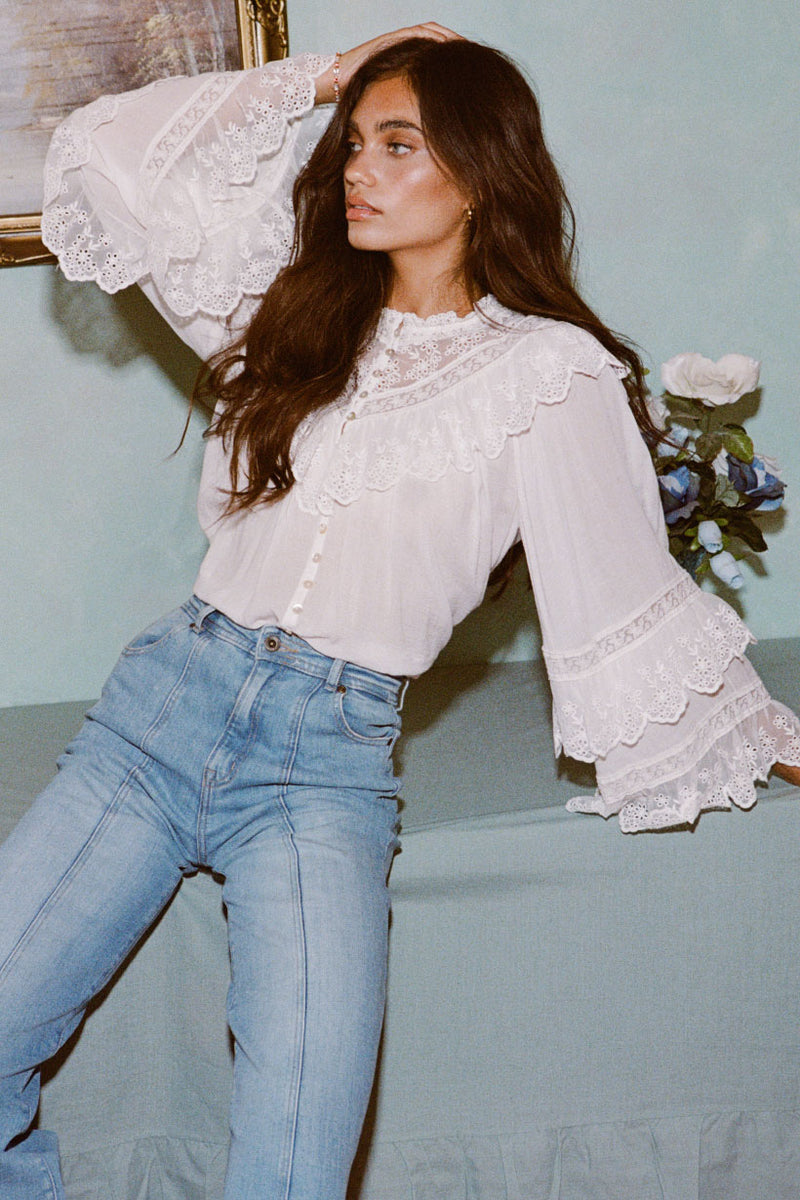 Ella Lace Blouse White