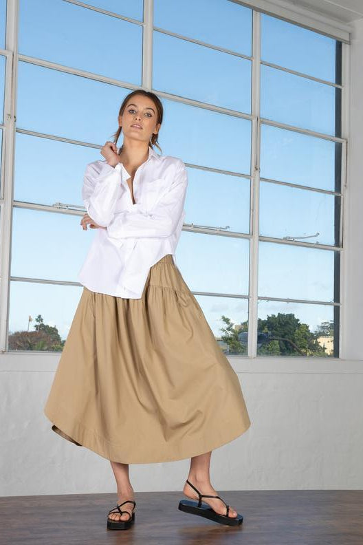 Cotton Gathered Circle Skirt Taupe