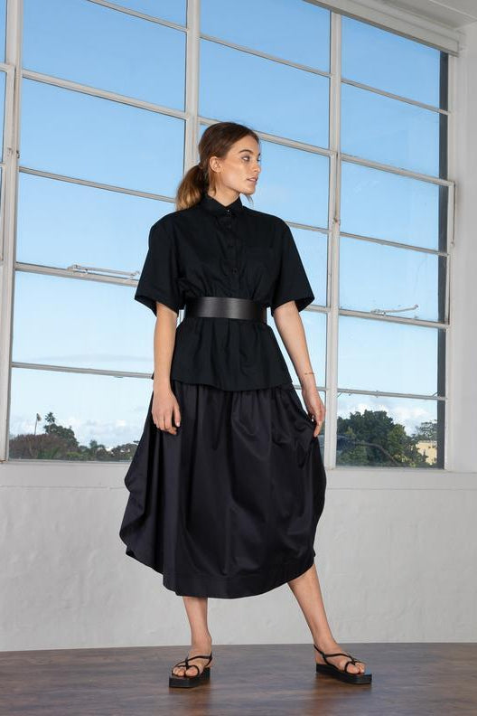 Gathered Circle Skirt Black