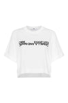 Amelia Crop Logo Tee White w/ Black