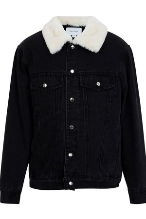Denim Faux Fur Jacket Washed Black