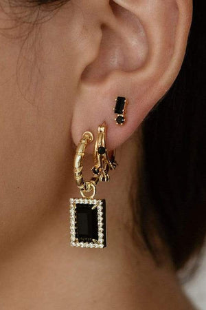 Gold Divinyls Gemstone Earrings Onyx
