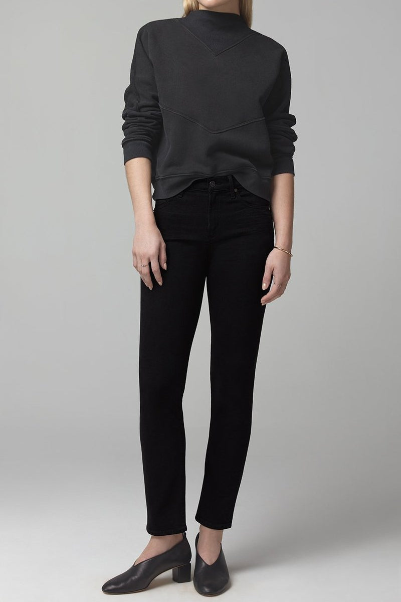 Harlow Ankle Mid Rise Slim Fit Plush Black