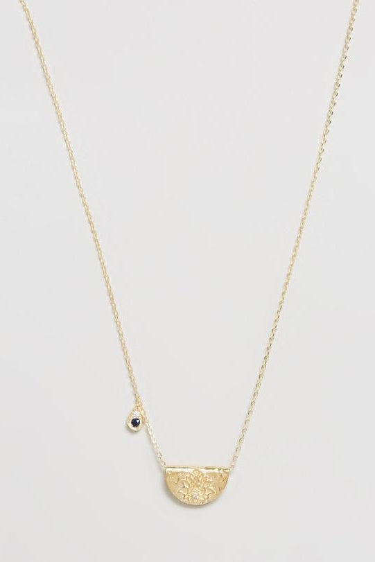 Gold Live With Devotion Necklace - September Birthstone