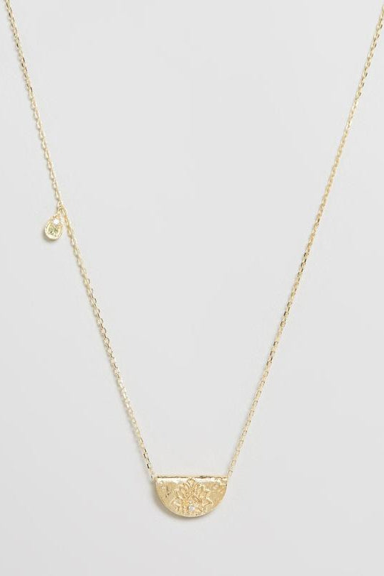 Gold Protect Your Heart Necklace - August Birthstone