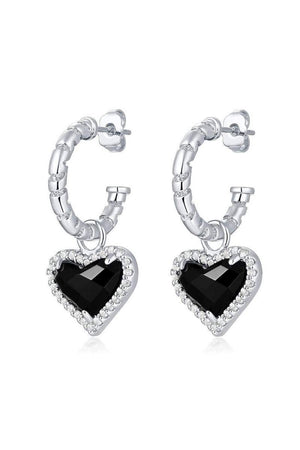 Silver Whitney Gemstone Heart Earrings Onyx