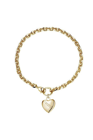 Love Forever Tattoo Heart Necklace Gold