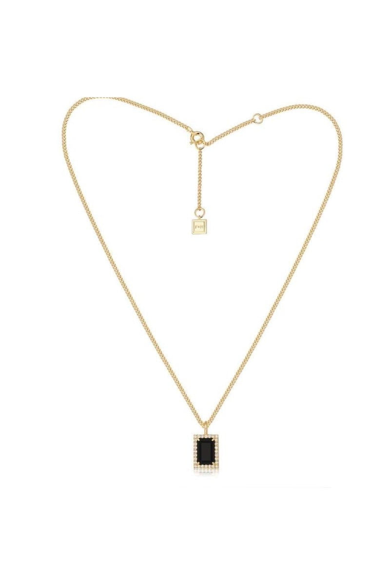 Gold Divinyls Gemstone Necklace Onyx