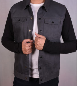 JERSEY SLEEVES DENIM JACKET