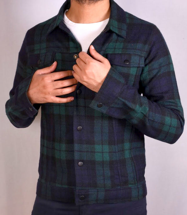 Black Multi Check Twin Patch Pocket Woven Jacket