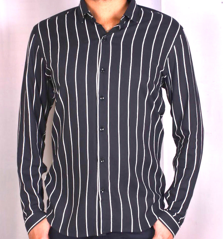 Black Vertical Stripe Shirt