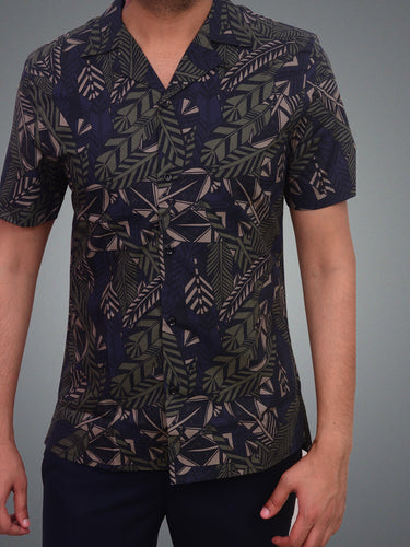 100% Cotton cuban collar printed shirt