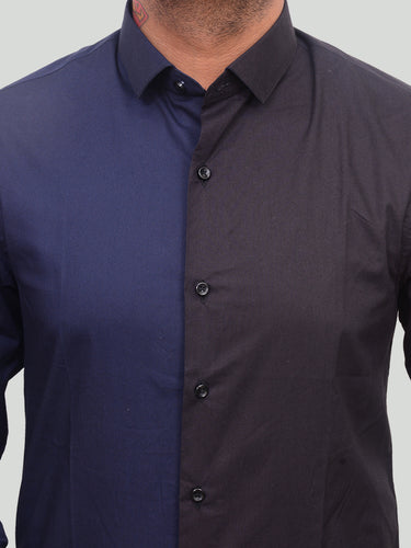 Half n Half 100% Cotton Black and Blue dual tone semi formal shirt