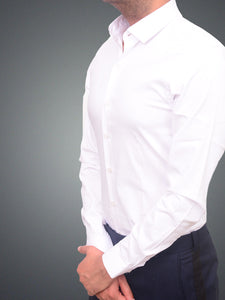 100% Cotton Lycra white formal shirt