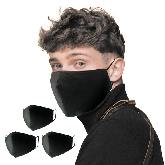 3PCS Black washable cotton 3D mask