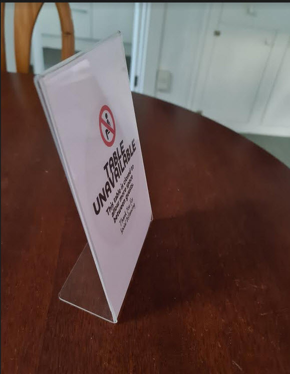 Hospitality Table Not in Use  A5  L  Base sign