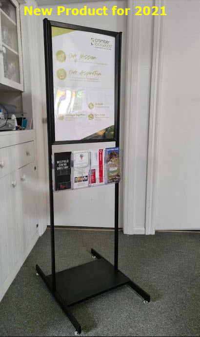 A2 Black Poster Stand, Optional DLE Leaflet Holders