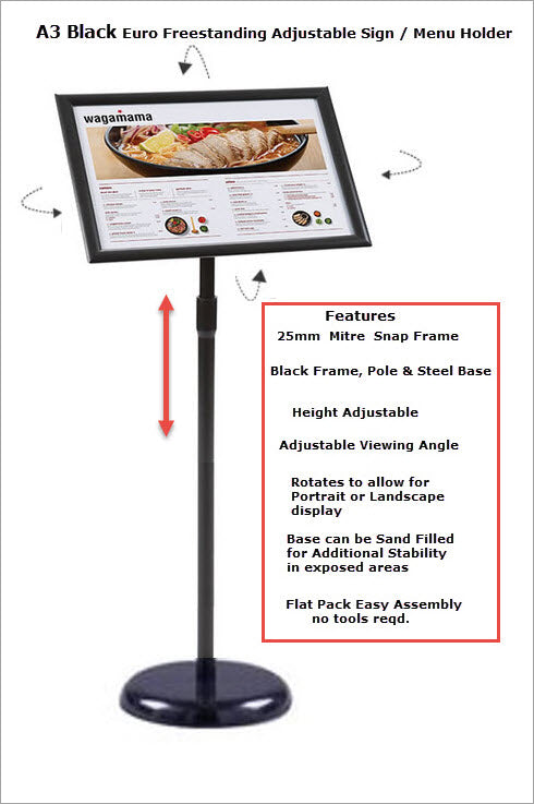 Freestanding Black A4 Adjustable Snap Frame Display Stand