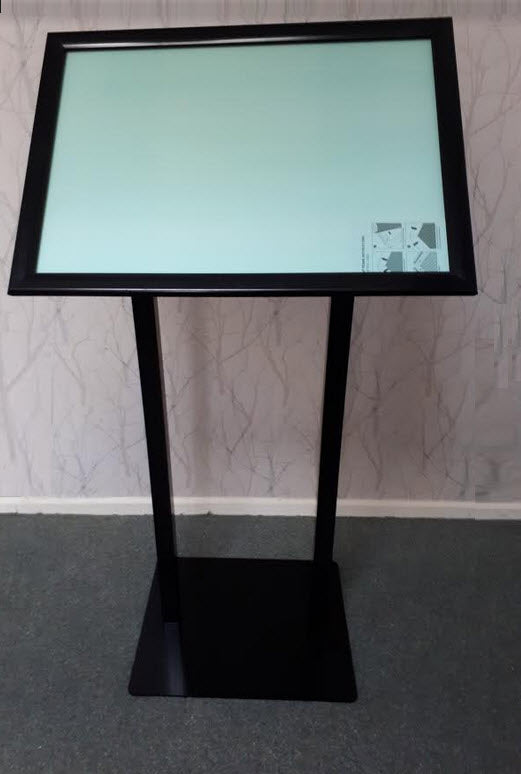 Black A2 Landscape Menu / Poster Display Stand Twin Suppports